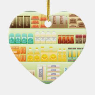 Ornement Cœur En Céramique grains de thé de café d'étagère de supermarché