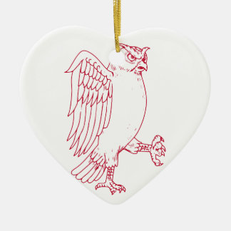 Ornement Cœur En Céramique Grand dessin de marche de hibou à cornes