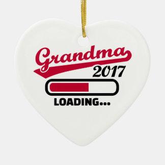 Ornement Cœur En Céramique Grand-maman 2017
