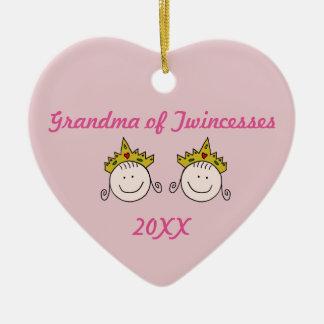 Ornement Cœur En Céramique Grand-maman d'ornement de Twincesses