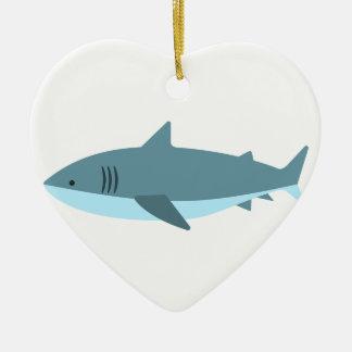 Ornement Cœur En Céramique Grand style de primitif de requin blanc