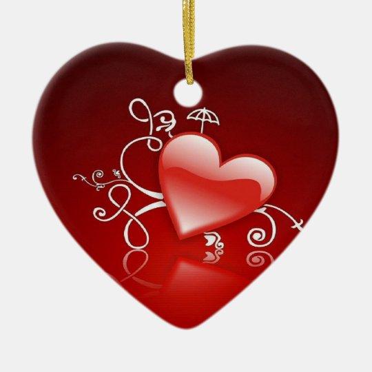 Ornement Cœur En Céramique Graphisme de Saint-Valentin -