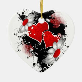 Ornement Cœur En Céramique Graphisme pour la Saint-Valentin -