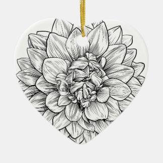 Ornement Cœur En Céramique Gravure à l'eau-forte de gravure sur bois en