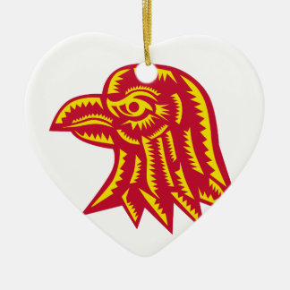 Ornement Cœur En Céramique Gravure sur bois latérale principale en Eagle