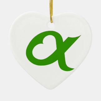 Ornement Cœur En Céramique Green Alpheart