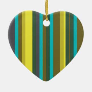 Ornement Cœur En Céramique Green_stripes