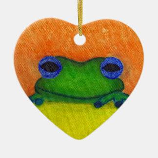 Ornement Cœur En Céramique grenouille