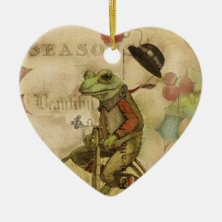 Ornement Cœur En Céramique Grenouille vintage de Joyeux Noël sur des