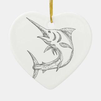 Ornement Cœur En Céramique Griffonnage atlantique de Marlin bleu