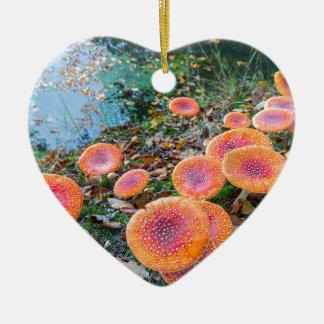 Ornement Cœur En Céramique Groupe de champignons rouges à l'eau side.JPG