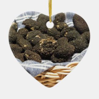 Ornement Cœur En Céramique Groupe de truffes noires chères italiennes