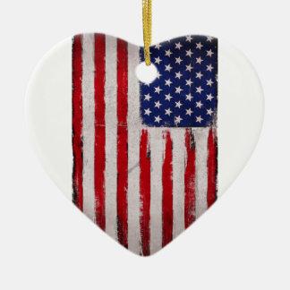 Ornement Cœur En Céramique Grunge de drapeau des Etats-Unis