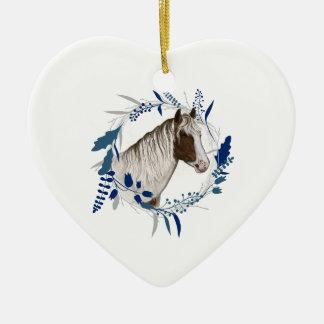Ornement Cœur En Céramique Guirlande bleue peinte de vacances de cheval