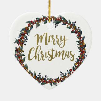Ornement Cœur En Céramique Guirlande d'aquarelle - Joyeux Noël - branches