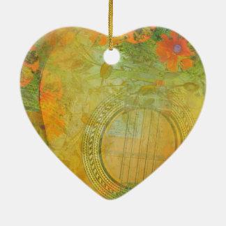 Ornement Cœur En Céramique Guitare et fleurs 1