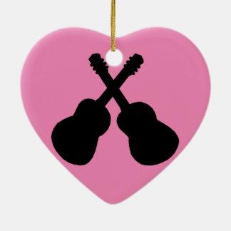 Ornement Cœur En Céramique guitares noires