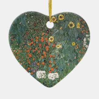 Ornement Cœur En Céramique Gustav Klimt - fleurs de tournesols de jardin de