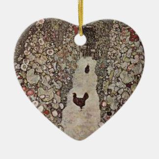 Ornement Cœur En Céramique Gustav Klimt - jardin avec des coqs