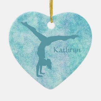 Ornement Cœur En Céramique Gymnaste d'Aqua sur le motif turquoise