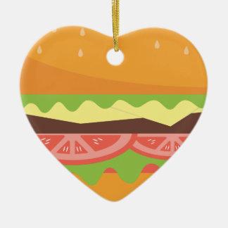 Ornement Cœur En Céramique Hamburger