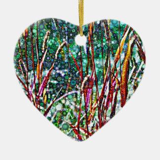 Ornement Cœur En Céramique Herbes pointillées d'automne
