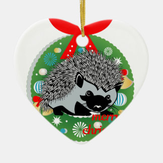 Ornement Cœur En Céramique hérisson de Joyeux Noël