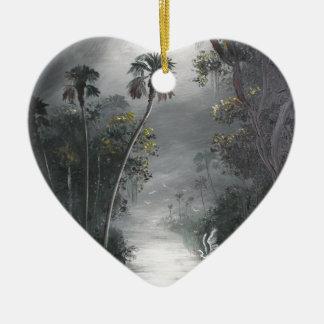 Ornement Cœur En Céramique Héron brumeux de rivière de la Floride