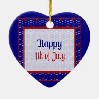 Ornement Cœur En Céramique Heureux 4 juillet, le rouge se tient le premier