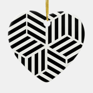 Ornement Cœur En Céramique Hexagones