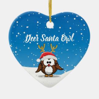 Ornement Cœur En Céramique Hibou de Père Noël de cerfs communs