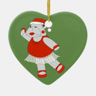 Ornement Cœur En Céramique Hippopotame de ballerine - Special de Noël