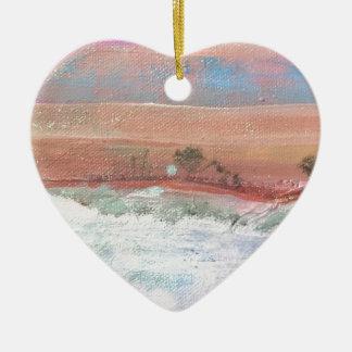 Ornement Cœur En Céramique Hiver rose