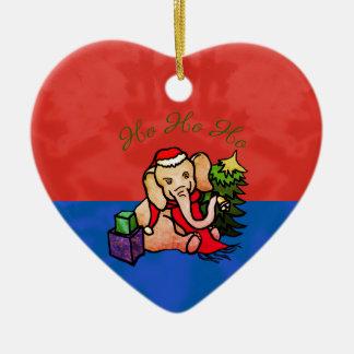 Ornement Cœur En Céramique Ho Ho Ho éléphant coloré mignon de Père Noël de