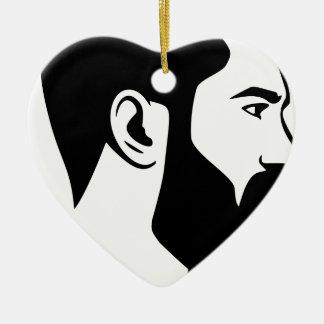 Ornement Cœur En Céramique Homme barbu