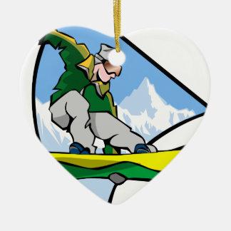 Ornement Cœur En Céramique Homme de snowboarding
