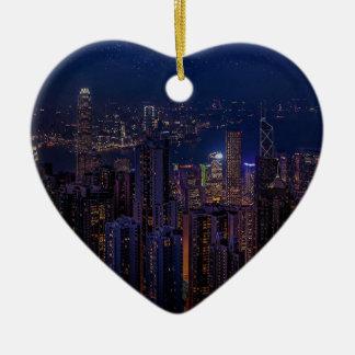 Ornement Cœur En Céramique Horizon de Hong Kong