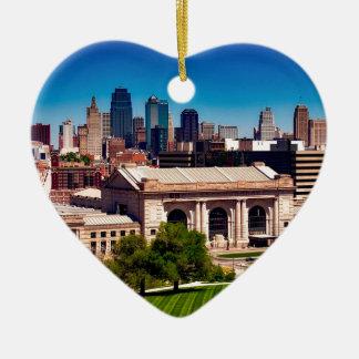 Ornement Cœur En Céramique Horizon de Kansas City