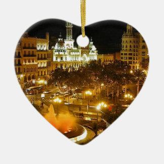 Ornement Cœur En Céramique Horizon de nuit de Madrid