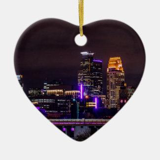 Ornement Cœur En Céramique Horizon de nuit de Minneapolis
