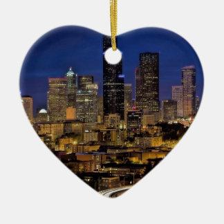 Ornement Cœur En Céramique Horizon de nuit de Seattle
