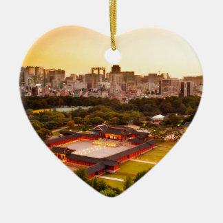Ornement Cœur En Céramique Horizon de Séoul Corée du Sud