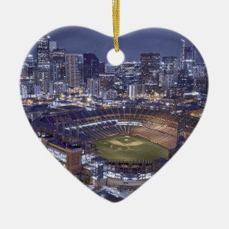 Ornement Cœur En Céramique Horizon de ville de Denver et champ de Coors la