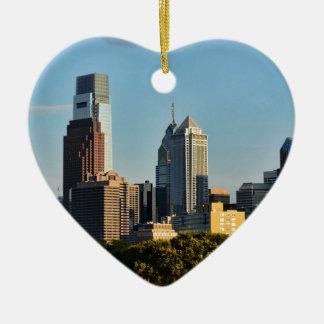 Ornement Cœur En Céramique Horizon de ville de Philadelphie