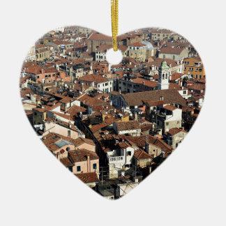 Ornement Cœur En Céramique Horizon de ville de Venise