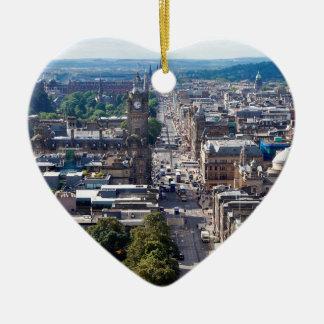 Ornement Cœur En Céramique Horizon de ville d'Edimbourg