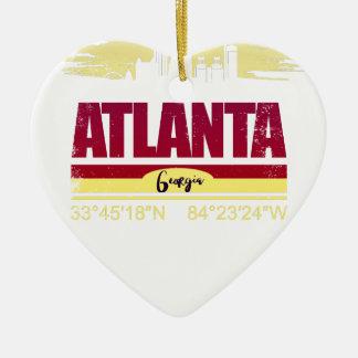 Ornement Cœur En Céramique Horizon grunge d'Atlanta la Géorgie