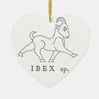 Ornement Cœur En Céramique Ibex sp. Bouquetin