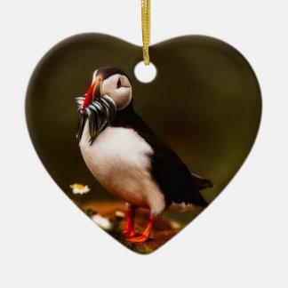 Ornement Cœur En Céramique Île animale d'Océan atlantique de faune d'oiseau