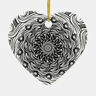 Ornement Cœur En Céramique Illusion optique de griffonnage fleuri de zen